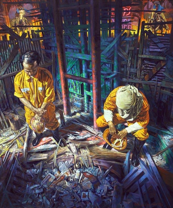 010 DEDE ERI SUPRIA Pasukan Kuning, 1999 Oil on canvas: 120 x 100 cm