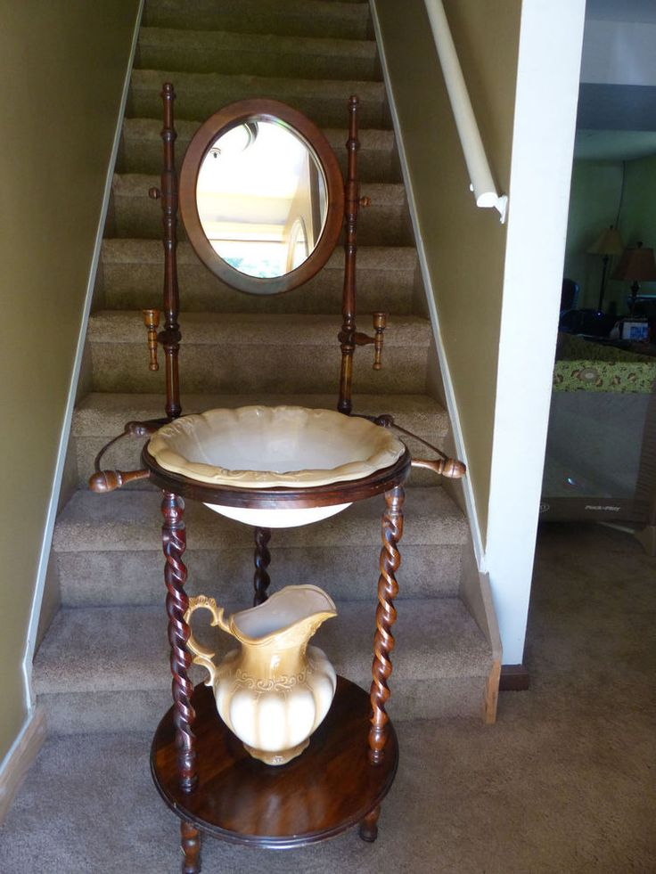 Antique Wash Basin Stand W Wash Bowl And Pitcher