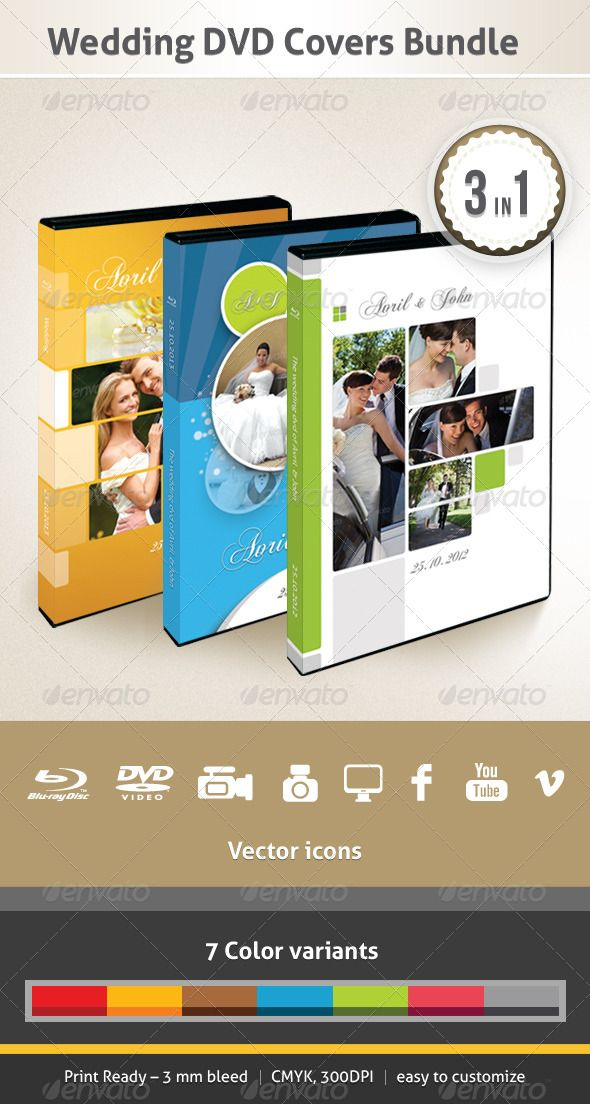Wedding DVD Covers Bundle Print templates, Wedding and Cd cover - it manual templates to download