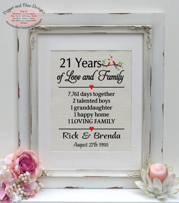 Wedding Gifts By Years: 21th Wedding Anniversary 21 Years Married By