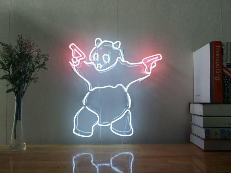 Panda Gun Real Glass Neon Sign For Bedroom Garage Bar Man Cave Room Home Decor Handmade Artwork Wall Lighting Includes Dimmer