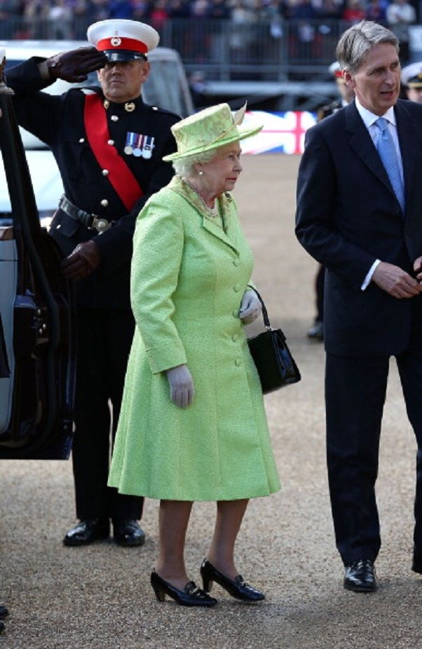 HRH Queen Elizabeth II attends The Royal Marines 350th Anniversary Beating Retreat at The Royal Horseguards on 04.06.2014 in London, England