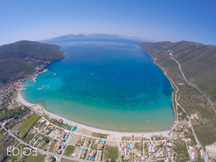 Bird's eye view of legendary Vassiliki bay via Club Vass #windsurfing #vassiliki #lefkas #greece - actiontripguru.com
