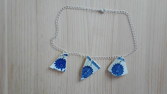 Extraordinary bright necklace with three ceramic pieces made by India with our sterling silver findings https://www.etsy.com/shop/PurrrMurrr?ref=seller-platform-mcnav&search_query=sterling+silver