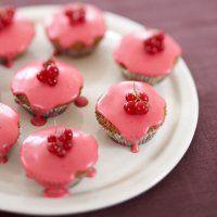 Redcurrant iced fairy cakes