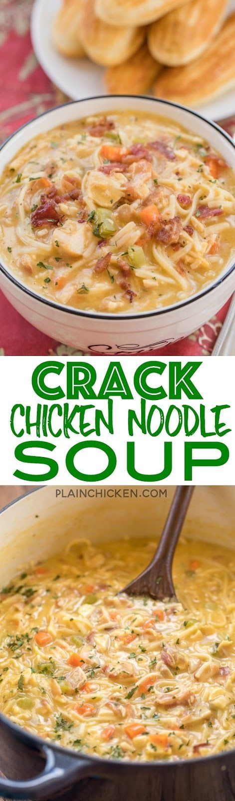 Crack chicken noodle soup:  omitted cheddar cheese and substituted 1-15oz jar smooth and cheesy dip Tostitos. Best ever! Delicious!
