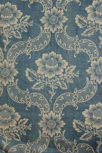 Wonderful antique French curtain panel , Indigo blue resist printed linen ~ LOVELY , Classic , 18th century  design from France~ www.textiletrunk.com