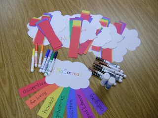 "Instead of describing self, make the cloud ""What I want in a friend"" and then find friends looking for similar attributes. Extend the activity by doing the (bubble letter) name art and using adjectives to describe self, http://iwanttobeasuperteacher.blogspot.com/2012/06/grammatical-name-art.html#comment-form"