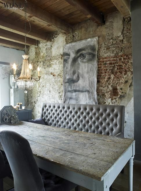 OOOoohhh! Wooooooww! Bare brick wall, two-toned table. Everything about this eclectic room is amazing