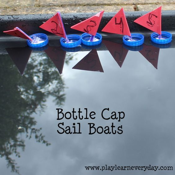 Bottle cap sail boats - ready to race! These sail boats are such a quick and straightforward activity to do with your kids. Perfect for all ages and abilities!