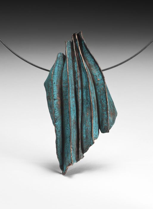 "Sandra Zacharia ""Colorformed Wave"" Necklace Bronze, colored pencil, oxidized sterling silver neck cable Fabricated, fold-formed, patinated 3 3/5"" X 2"" X 4/5"""