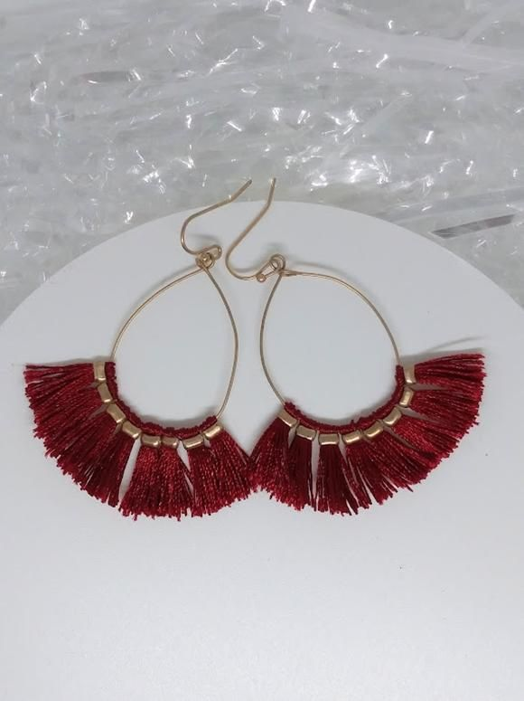dc122bc8b Thread Tassel Earrings - Deep Red | Products | Tassel earrings ...