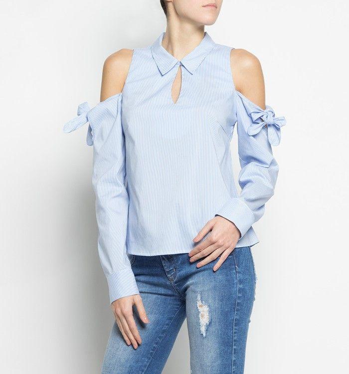 Camisa rayas con hombros descubiertos