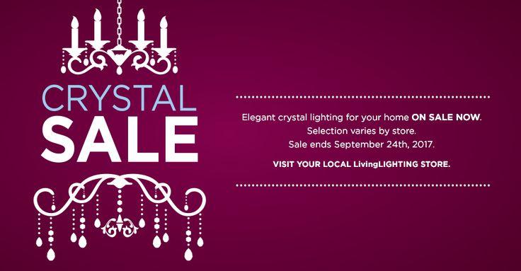 Elegant Crystal ✨ Lighting for your Home ON SALE NOW! Selection varies by store. Sale ends September 24, 2017. Visit your local #LivingLIGHTING store.   #crystallighting #elegant #homedecor #chandelier #sale