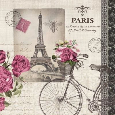 Paris Bicycle Eiffel Tower Paper Napkin for Decoupage by YWart