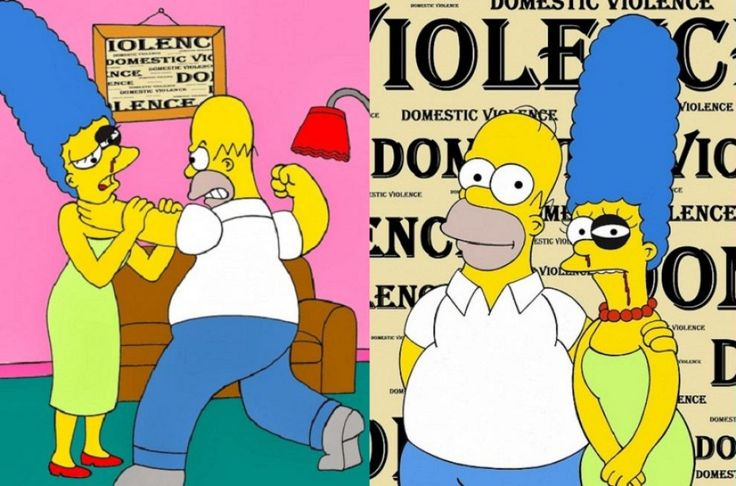 """Simpson contro la violenza sulle donne Volto tumefatto. Sangue dal naso. Occhi """"viola"""" per le botte. La campagna dell'artista Saint Hoax."""