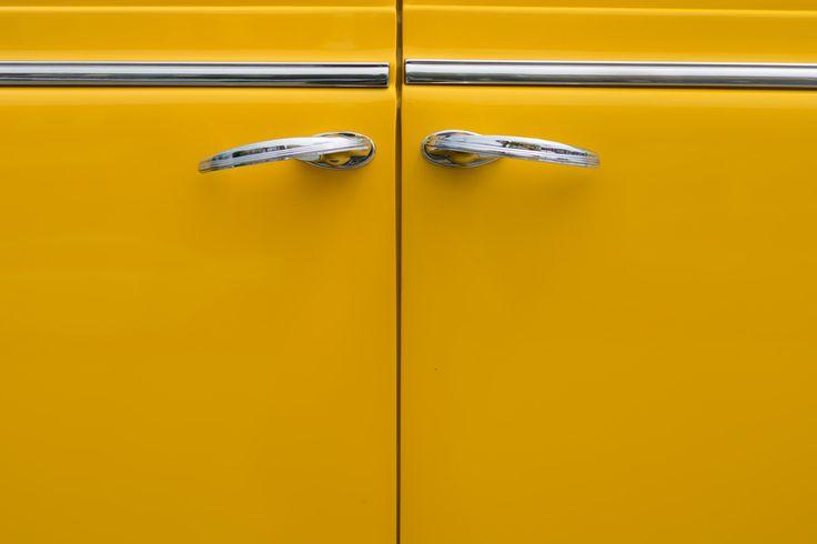 Yellow doors on a 1941 Dodge Sedan - Yellow car doors from a restored 1941 Dodge sedan.