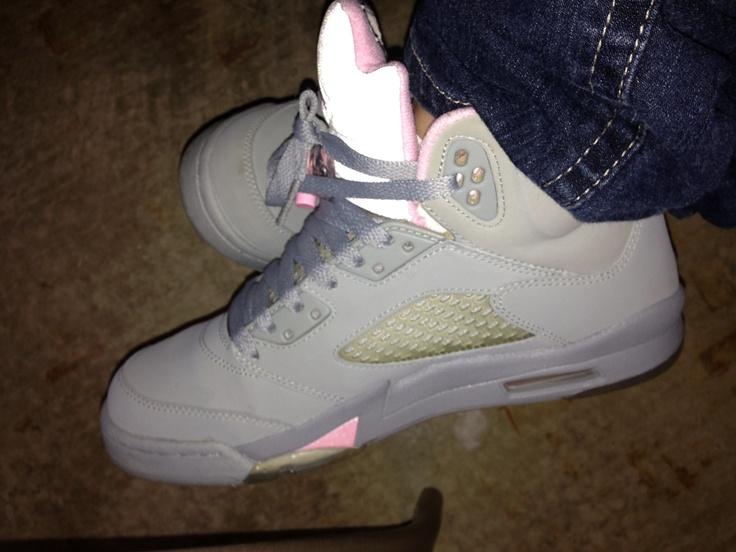 Pink & Grey Jordans 5