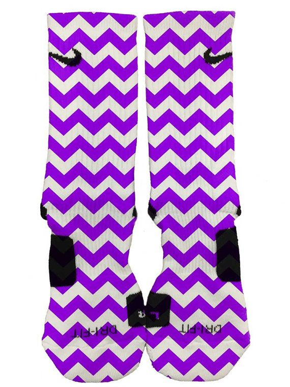 Nike Elite Custom Purple Chevron Socks Fast and Free Shipping!