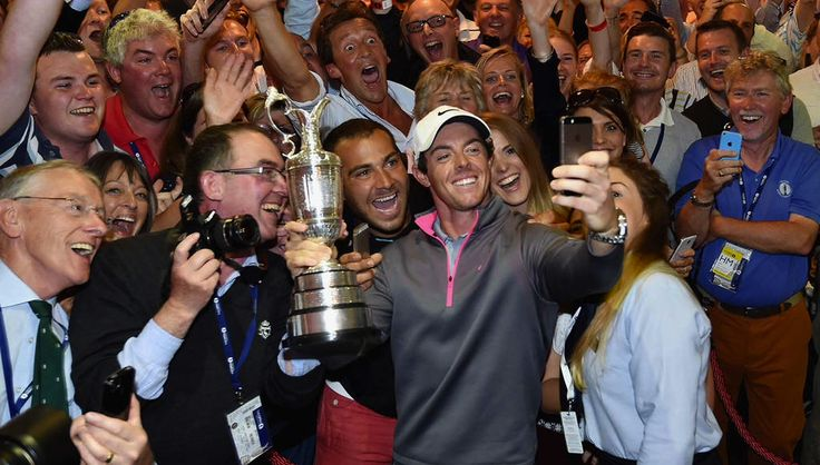 Rory McIlroy delebrates his Open 2014 victory at Liverpool Clubhouse