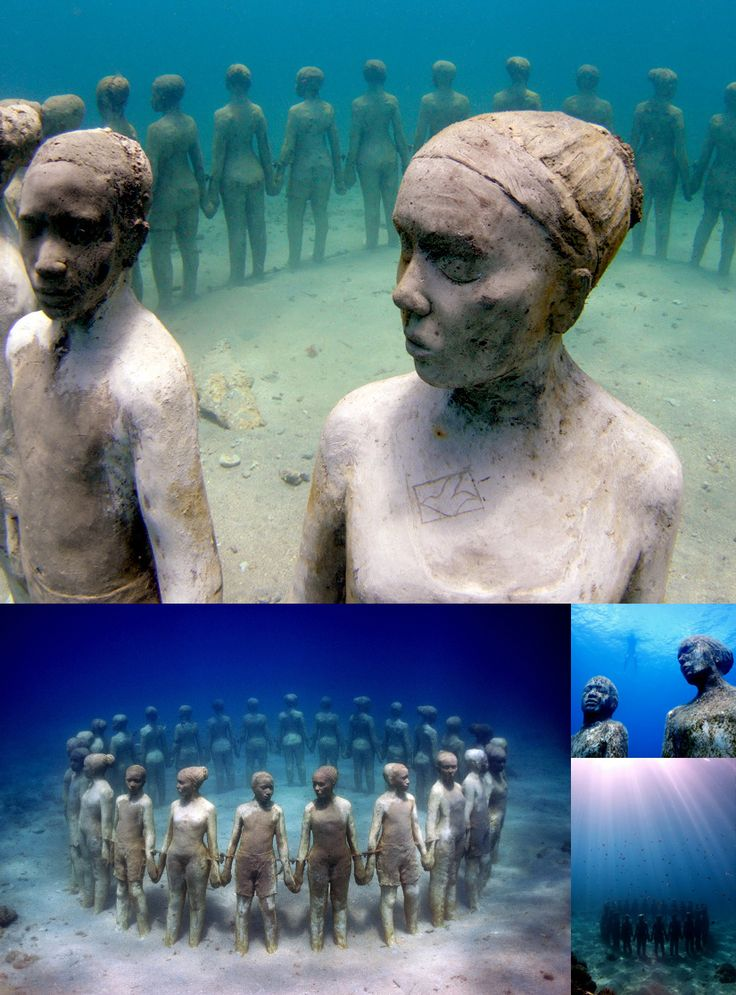Beautiful underwater sculpture, in Grenada, in honor of African Ancestors who were thrown overboard the slave ships during the Middle Passage of the African Holocaust: