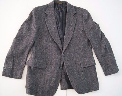 Adams Row by Richman 100% Pure Wool Vintage Blazer Coat Size 40 R Gray Indie