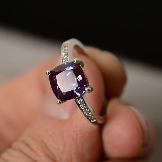 Lab Alexandrite Ring Silver Cushion Cut Ring by KnightJewelry