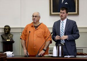 Jack Eugene Turner (left) appears at his 2015 sentencing hearing in Franklin County Circuit Court with his lawyer, Holland Perdue (right). Photo by the Roanoke Times.
