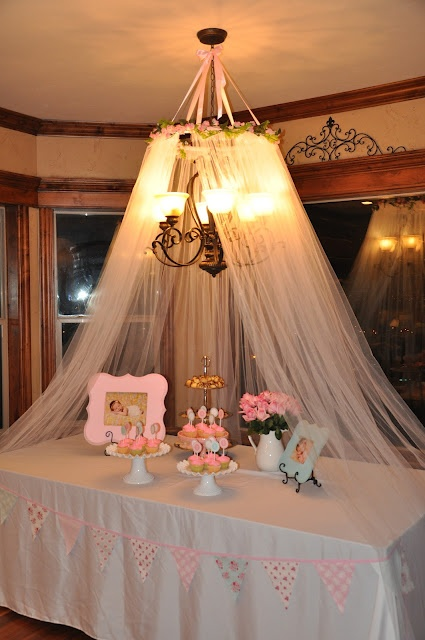 Gorgeous diy canopy made for the dessert table at my for Baby shower canopy decoration