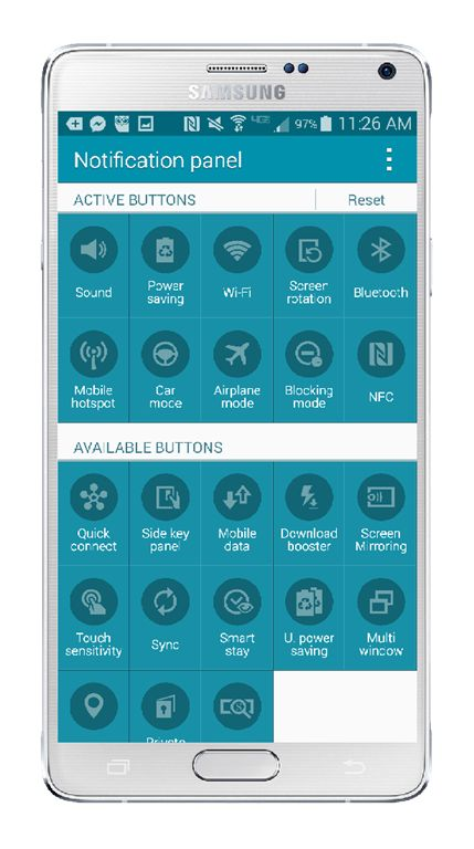 Samsung Galaxy Note 4 Edit Notification Buttons