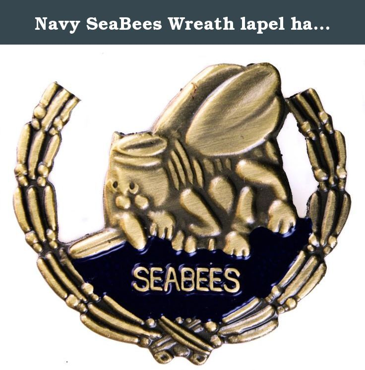 Navy SeaBees Wreath lapel hat pin. US Navy Seabees.