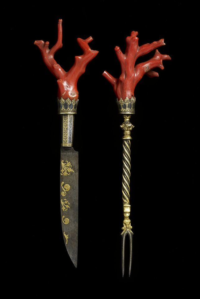 This extremely rare coral cutlery set from the late 1500s would have been only used on extraordinary occasions. In the late Renaissance, the guests would typically bring their own cutlery to formal dinners. Coral was believed to be an antidote against poison. Therefore, in the view of its time this set of cutlery would have offered its bearer special protection during a meal at the table of a rival family or of an untrustworthy foreign ruler.