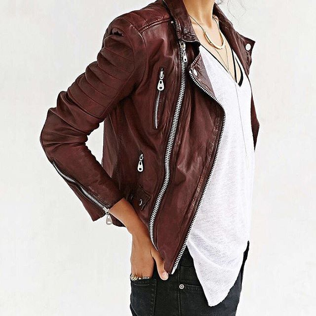 Burgundy leather jackets? We are so on board with this! // Follow @ShopStyle on Instagram to shop this look