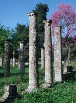 The ruins of the palaestra at Olympia.  The Palaestra was a training area used mainly by athletes  for wrestling and boxing.  It was built in the 5th century. Photo:http://www.odysseyadventures.ca/articles/olympia/articleolympia.htm