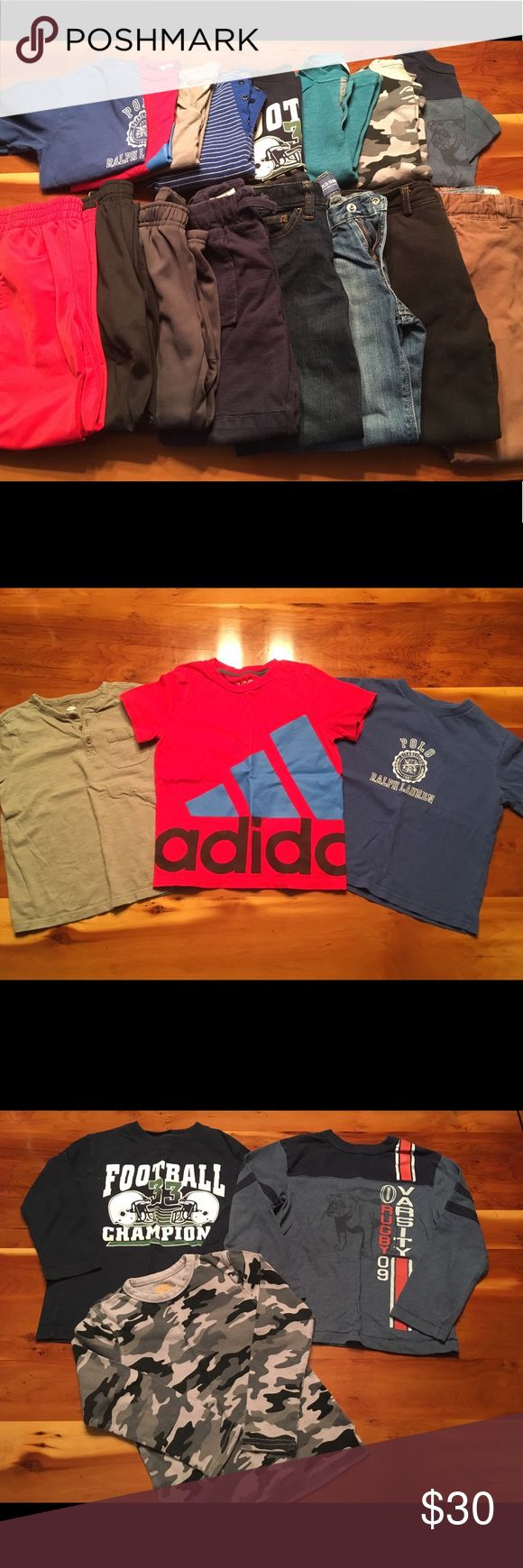 S 4-5 Lot Nike, Ralph Lauren, Under Armour, Adidas 16 pieces of boys clothing, 8 tops and 8 pants. All sizes 4-5. Items from Adidas, Nike, Under Armour, Hatley, Ralph Lauren, Cat & Jack, Old Navy, Children's Place, Andy & Evan, Harper Canyon (Nordstrom)  ❤️All in excellent condition with minimal wash wear! Only used last season ❤️  🎀Bundle discount of 20% on 2 or more items!  🎀Item will be packed and ready to ship with 24 hours of purchase Polo by Ralph Lauren Matching Sets