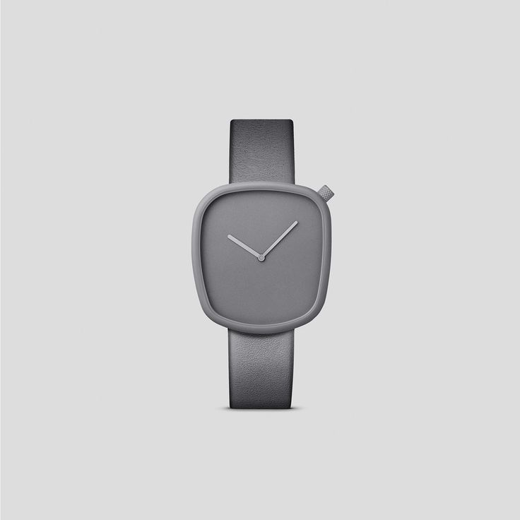 STONE GREY TITANIUM-COATED STEEL ON GREY, ITALIAN LEATHER.  Designed by acclaimed, Danish design trio, KiBiSi, and inspired by the worn pebbles found along Scandinavian coastlines, the Pebble watch is a carefully considered timepiece created through a comprehensive process combining time-honored craft and idea-driven innovation.