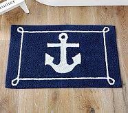 Luke's Bath  Nautical Anchor Bath Mat, Navy