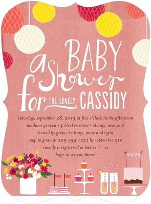 Precious Party - Baby Shower Invitations - Petite Alma - Coral - Pink : Front: Shower Ideas, Babies, Petite Alma, Baby Shower Invitations, Parties, Precious Party, Products, Coral Baby Showers