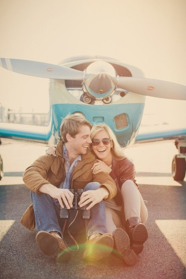 pinned this twice because it's for real so cute, perfectly could use Chris's plane........ Travel Themed Engagement Shoot: Love Is An Adventure!
