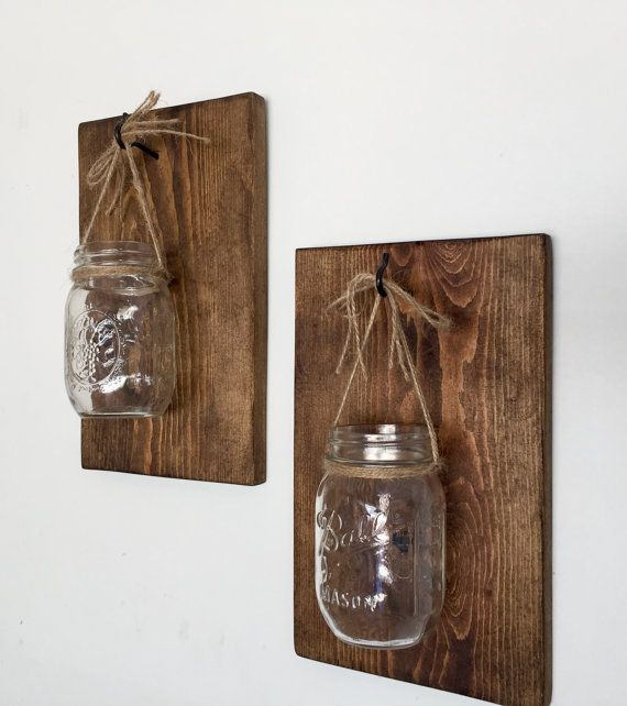 Mason Jar Wall Sconce Wooden Wall Sconce by HammelDesigns on Etsy