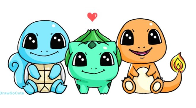 Bulbasaur, Squirtle, Charmander