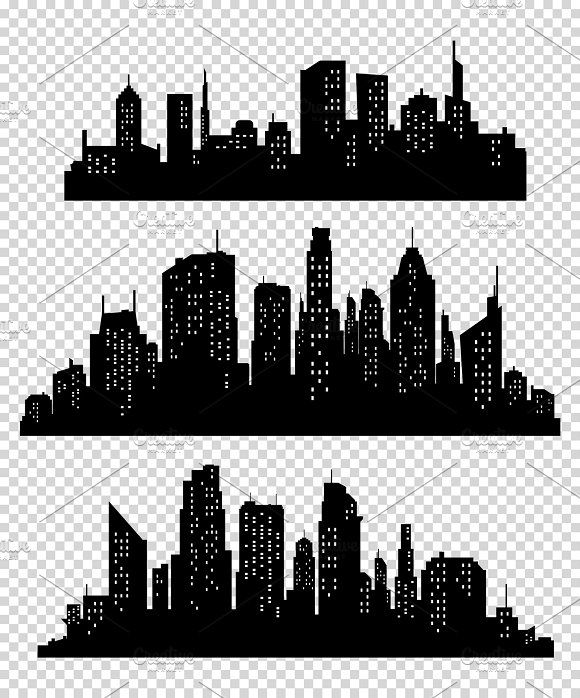 Set Of Vector Cities Silhouette City Silhouette City Icon Silhouette