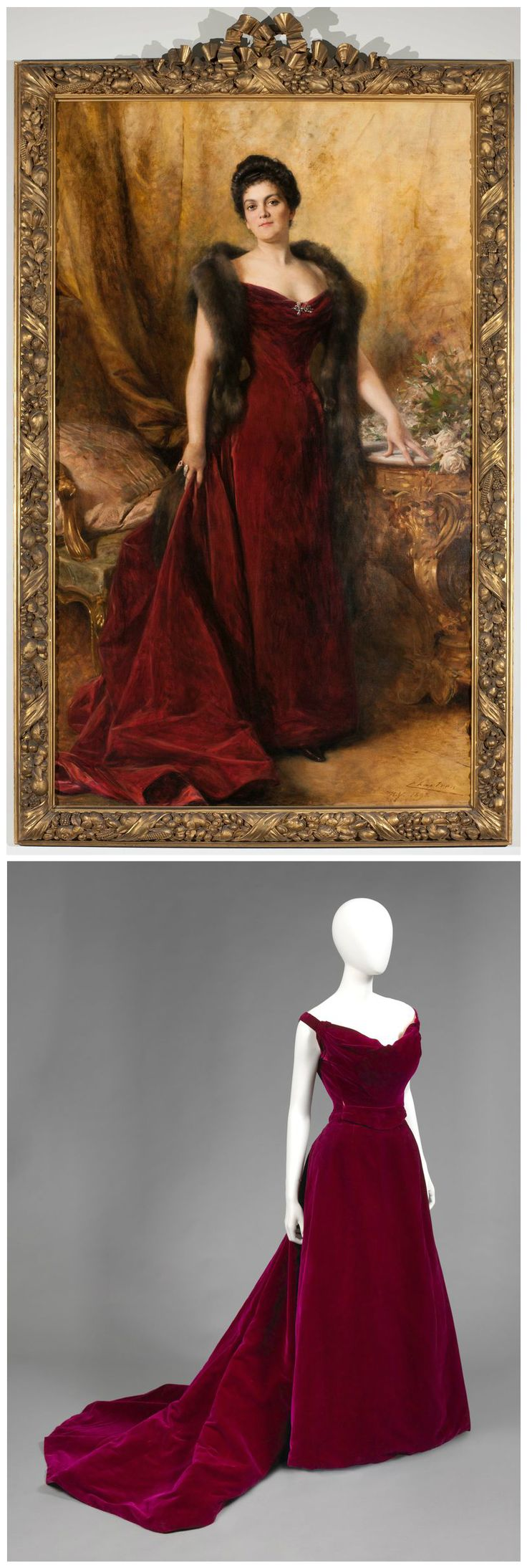 Portrait of Edith Kingdon Gould, by Chartran, 1898 (above), showing the sitter wearing a red velvet evening gown, by Worth, also made in 1898 (below). Photos via the Irenebrination blog.