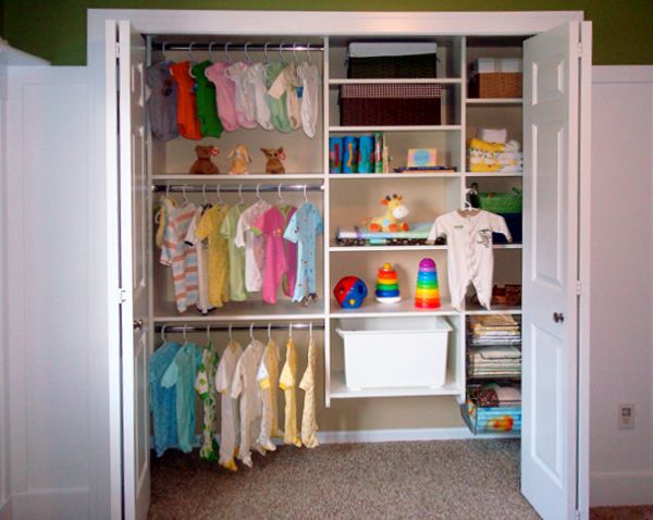Baby-Closet-After on Easy Closets.  Ours is much small so we can't make it like the one in the picture but I like the ideas in the article
