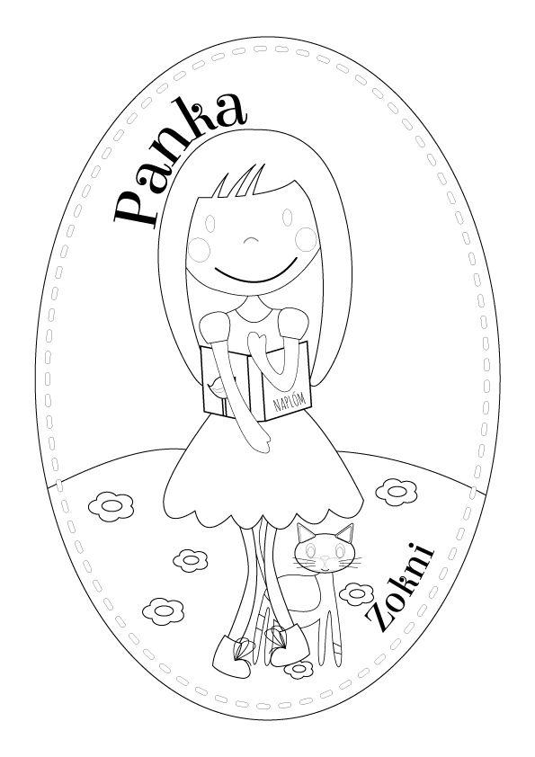 Panka és cicája Zokni, színező :-) Panka and Zokni the cat, coloring page :-)