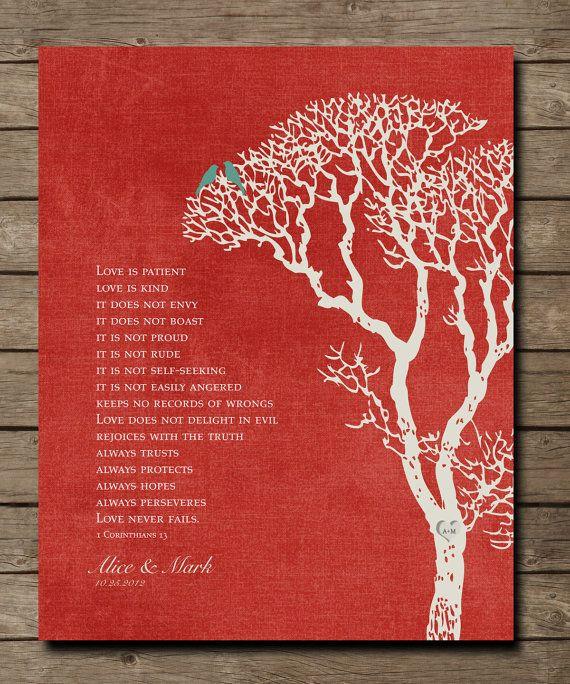 Wedding Reading Love Is Patient: 1st Wedding Paper Anniversary Gift Print, 1 Corinthians 13