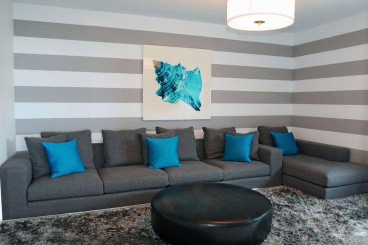 Wand Streichen Ideen Wohnzimmer Streifen Grau Weiss Tuerkis