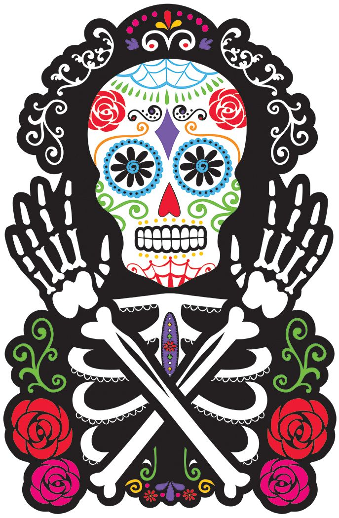 Decoración mural calavera: Esta decoración mural representa el busto de un esqueleto, los brazos y la cabeza.Esta decoración es muy colorida sobre un fondo negro.Esta decoración es de cartón y mide...