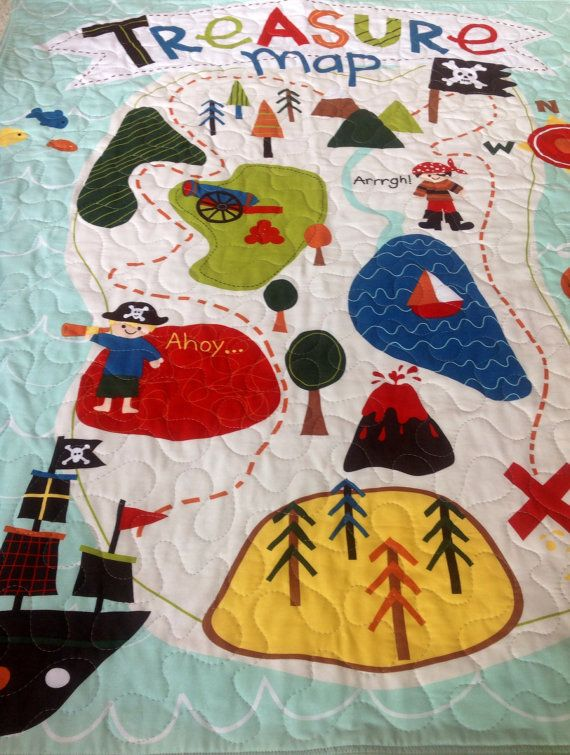 Baby Boy Quilt, Reversible, Pirates,Treasure Map, Ships, Ahoy Matey,Riley Blake, Baby Blanket, Baby Bedding, Crib Bedding, Nursery Bedding on Etsy, $105.00