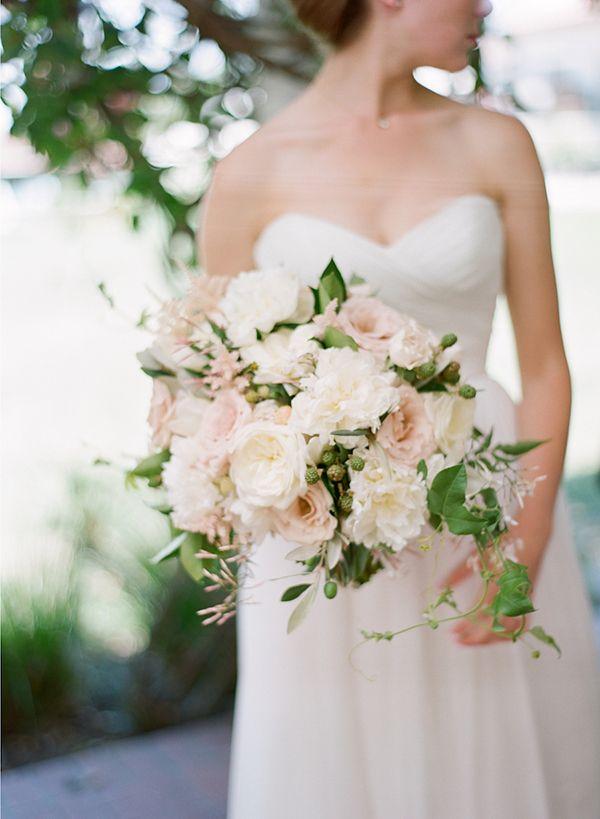 the inn at rancho santa fe wedding white green and blush florals garden roses - Blush Garden Rose Bouquet